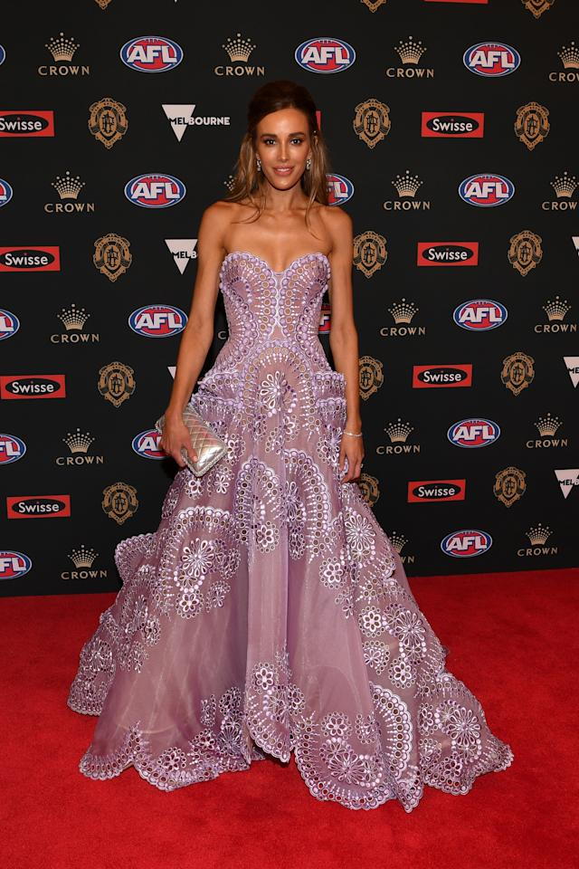 <p>Intricate laced detail made this strapless gown an elegant choice for the night. <br />Photo: AAP </p>