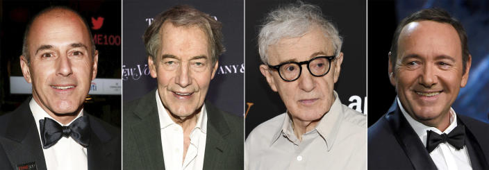 "This combination photo shows, from left, morning news show anchors Matt Lauer and Charlie Rose, filmmaker Woody Allen and actor Kevin Spacey, who have all been accused of sexual abuse and harassment. Lauer and Rose were terminated and Allen was dropped by his U.S. distributor Amazon and Spacey has not worked on a big budget film since his last film ""All the Money in the World,"" which his role was replaced last-minute by Christopher Plummer. (AP Photo)"