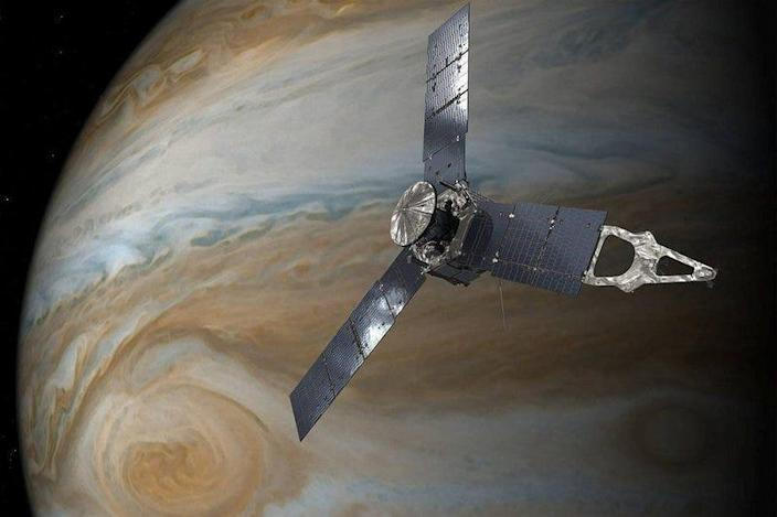 NASA's Juno spacecraft orbiting above Jupiter's Great Red Spot can be seen in this undated handout illustration obtained by Reuters on July 11, 2017. NASA/JPL-Caltech/Handout via REUTERS