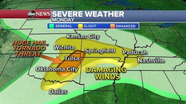 PHOTO: The biggest threat for hail and tornadoes today will be from Oklahoma City to Tulsa. The rest of the area will see damaging winds from just south of Kansas City to near Nashville. (ABC News)