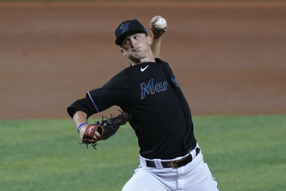 Miami Marlins' Braxton Garrett pitches during the first inning of the second game of a baseball doubleheader against the Philadelphia Phillies, Sunday, Sept. 13, 2020, in Miami. (AP Photo/Wilfredo Lee)