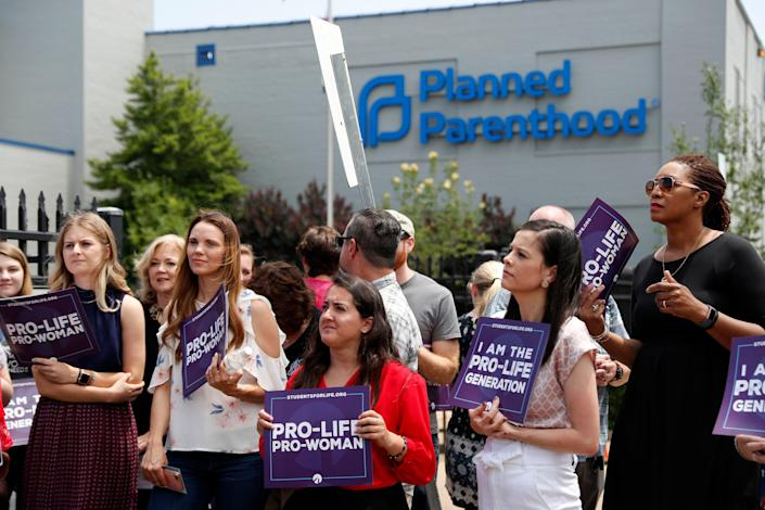 Supporters of abortion protest outside Planned Parenthood  (Copyright 2019 The Associated Press. All rights reserved.)