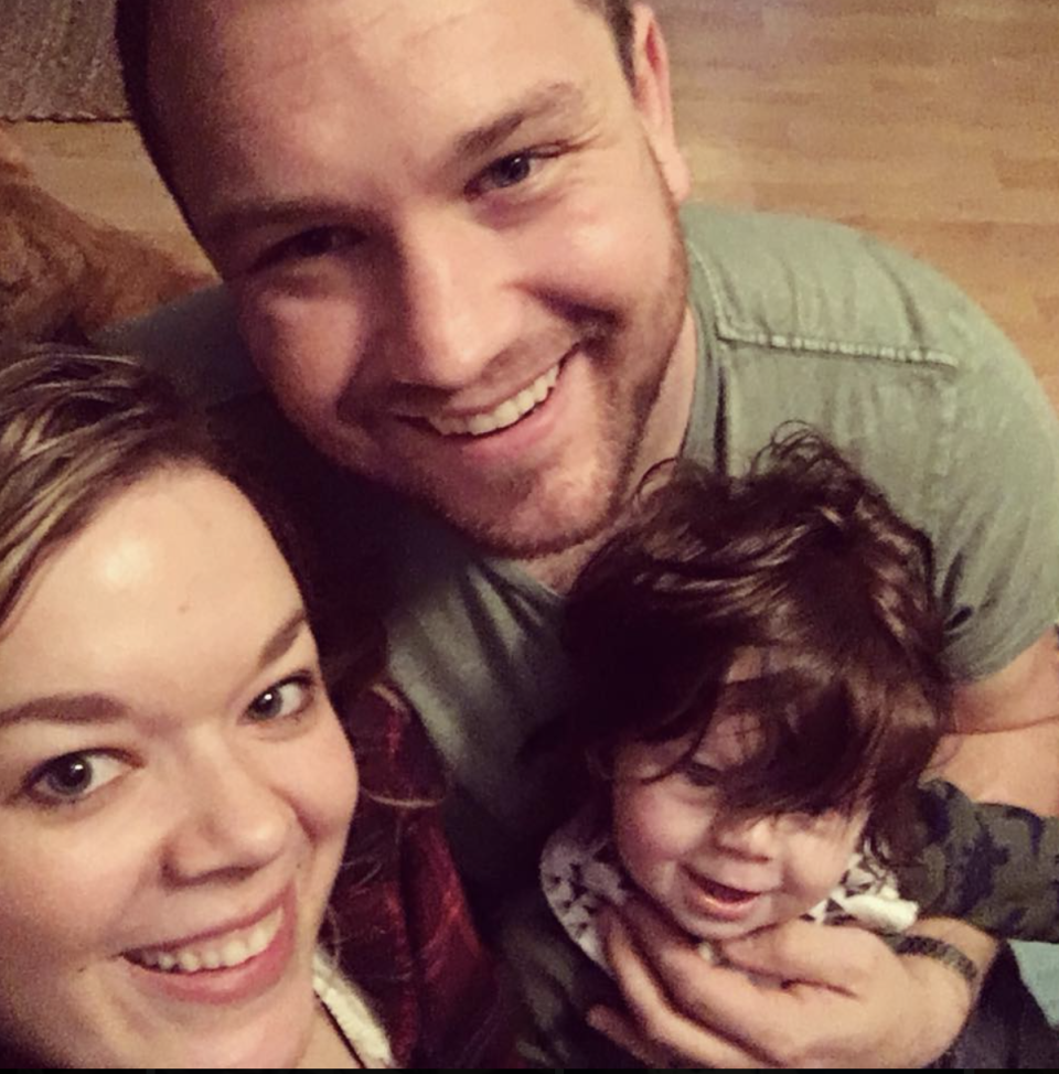 Ms Thomson and her husband, Nathan, are pictured with their eldest son, Milo. Source: Supplied