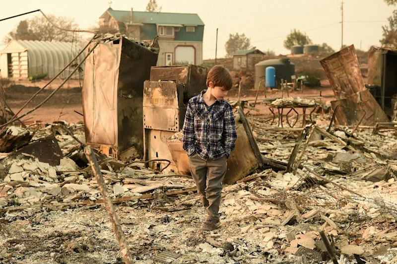 Jacob Saylors, 11, walks through the burned remains of his home in Paradise, California (AFP Photo/Josh Edelson)
