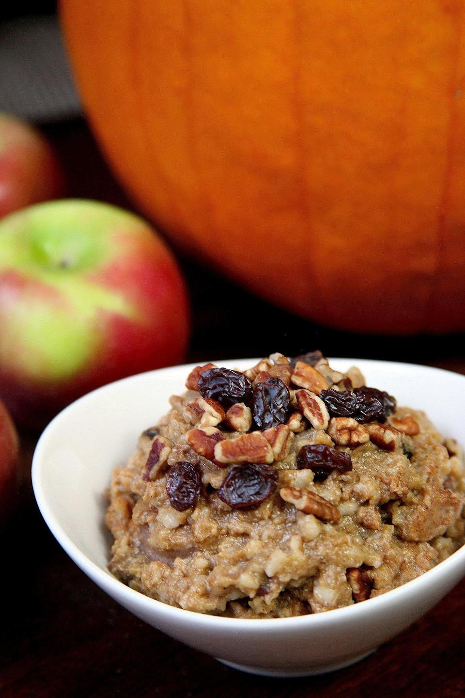 "<p>Just throw the ingredients in your slow cooker and get ready to have this pumpkin spice oatmeal high five your taste buds come morning. </p> <p><strong>Calories:</strong> 382<br> <strong>Protein:</strong> 13 grams</p> <p><strong>Get the recipe:</strong> <a href=""https://www.popsugar.com/fitness/Slow-Cooker-Pumpkin-Pie-Steel-Cut-Oats-35883531"" class=""link rapid-noclick-resp"" rel=""nofollow noopener"" target=""_blank"" data-ylk=""slk:slow-cooker pumpkin spice oatmeal"">slow-cooker pumpkin spice oatmeal</a></p>"