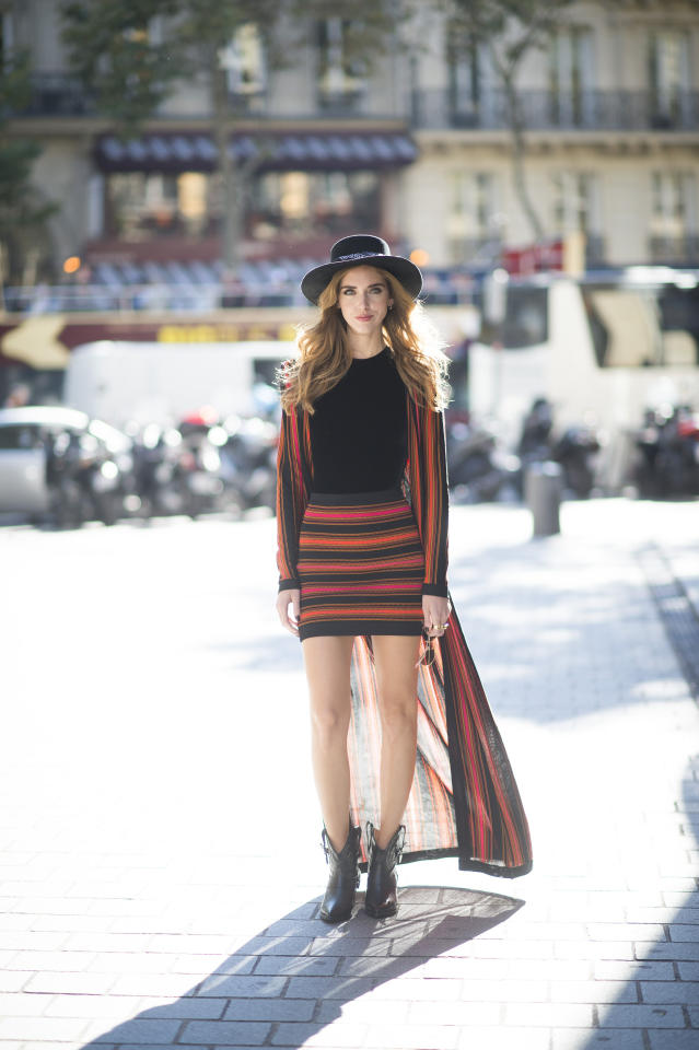 <p>The Blonde Salad fashion force looked fierce in a red and black striped Balmain outfit on the streets of Paris. (Getty Images)</p>