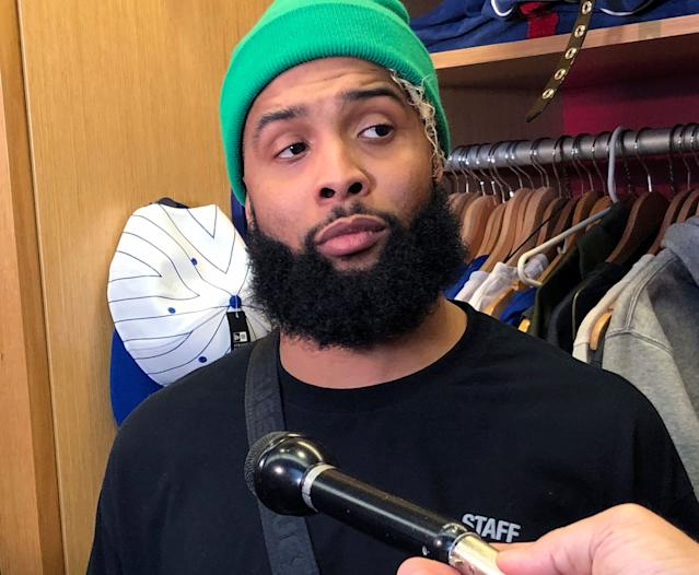 New York Giants wide receiver Odell Beckham Jr. speaks to reporters in East Rutherford, N.J., Thursday, Dec. 20, 2018. (AP Photo/Tom Canavan)
