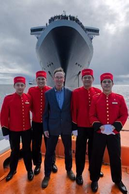 Cunard Captain Christopher Wells sails away from flagship Queen Mary 2 for the last time, as he embarks on his retirement. Wells was named Commodore in recognition of his stellar 20 year career with the company.