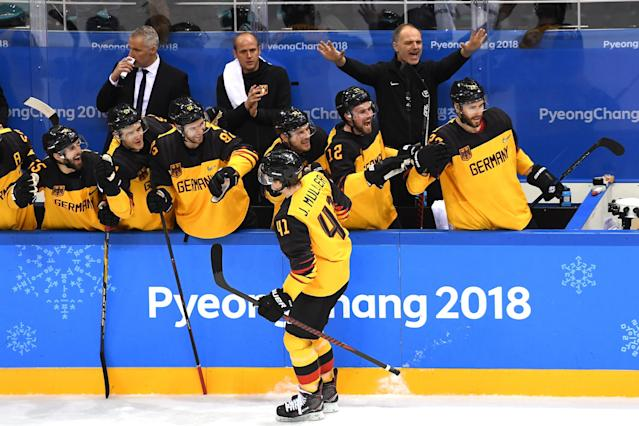 <p>Jonas Muller #41 of Germany celebrates with teammates after scoring a goal in the third period against Olympic Athlete from Russia during the Men's Gold Medal Game on day sixteen of the PyeongChang 2018 Winter Olympic Games at Gangneung Hockey Centre on February 25, 2018 in Gangneung, South Korea. (Photo by Harry How/Getty Images) </p>
