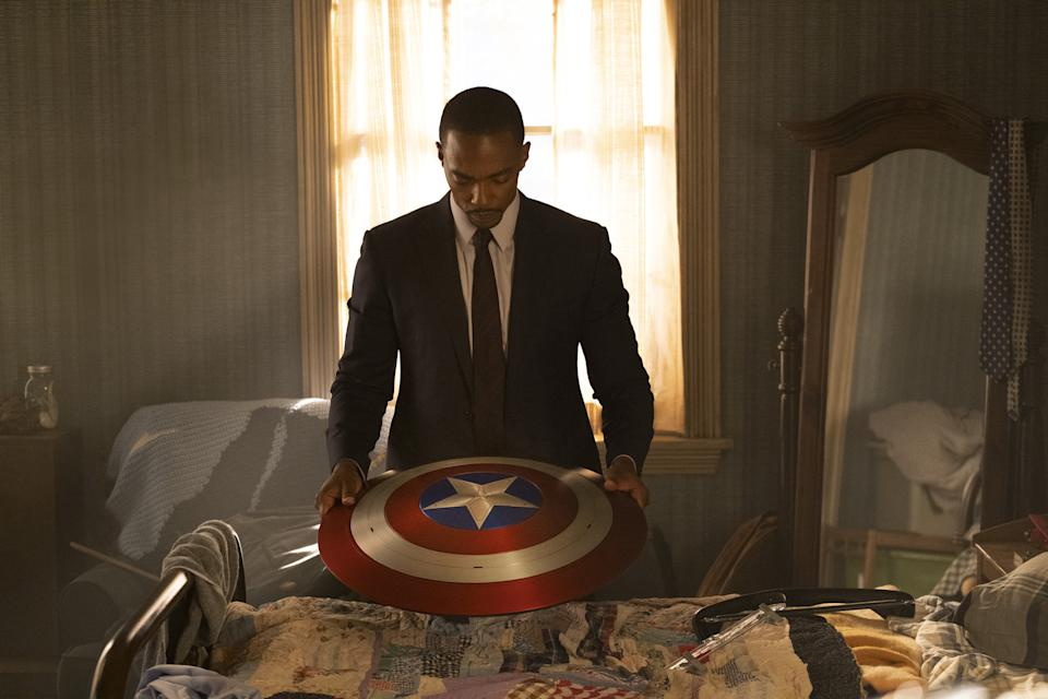 Anthony Mackie in a still for The Falcon and The Winter Soldier (Disney+)