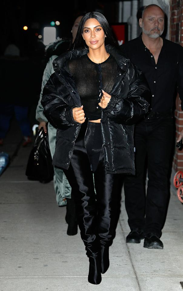 <p>Kim Kardashian strutted down the street in a see-through mesh top while heading out with BFF La La Anthony after touching down in New York City. (Photo: Jackson Lee/Splash News). </p>