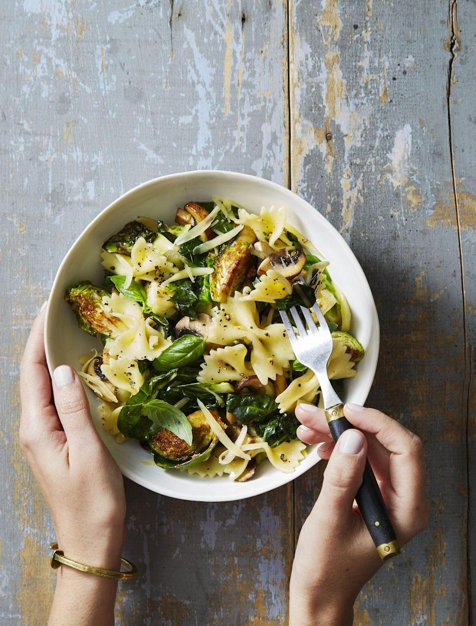 """<p>Here's a great way to get your holiday fix of Brussels sprouts: Mix them into a delicious, hearty <a href=""""https://www.goodhousekeeping.com/food-recipes/easy/g2341/pasta-recipes-with-5-ingredients/"""" rel=""""nofollow noopener"""" target=""""_blank"""" data-ylk=""""slk:pasta dish"""" class=""""link rapid-noclick-resp"""">pasta dish</a>.</p><p><em><a href=""""https://www.goodhousekeeping.com/food-recipes/a40391/brussels-sprout-basil-bowties-recipe/"""" rel=""""nofollow noopener"""" target=""""_blank"""" data-ylk=""""slk:Get the recipe for Brussels Sprout & Basil Bowties »"""" class=""""link rapid-noclick-resp"""">Get the recipe for Brussels Sprout & Basil Bowties »</a></em> </p>"""