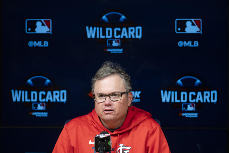 St. Louis Cardinals manager Mike Shildt responds to a question during a baseball news conference in Los Angeles, Tuesday, Oct. 5, 2021. The Cardinals play the Los Angeles Dodgers in wild card playoff game on Wednesday. (AP Photo/Kyusung Gong)