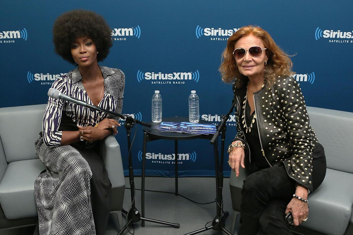 NEW YORK, NY - MARCH 11:  Supermodel Naomi Campbell and designer Diane von Furstenberg conduct a Town Hall at SiriusXM Studios on March 11, 2014 in New York City.  (Photo by Taylor Hill/Getty Images)