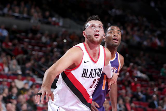 "<a class=""link rapid-noclick-resp"" href=""/nba/teams/por/"" data-ylk=""slk:Portland Trail Blazers"">Portland Trail Blazers</a> center <a class=""link rapid-noclick-resp"" href=""/nba/players/5327/"" data-ylk=""slk:Jusuf Nurkic"">Jusuf Nurkic</a> would be one of the top free agents on the market in 2018 if Portland doesn't extend his contract before Monday night. (Getty Images)"