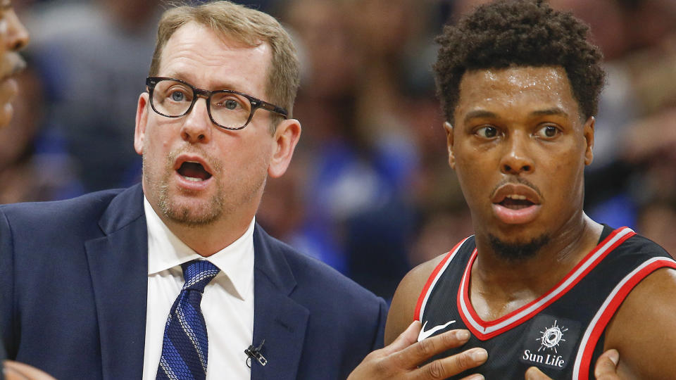 Nick Nurse briefly forgot that Kyle Lowry wasn't on the Raptors anymore. (Reinhold Matay-USA TODAY Sports)