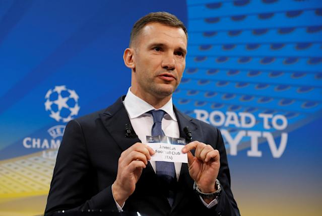 Soccer Football - Champions League Quarter-Final Draw - Nyon, Switzerland - March 16, 2018 Andriy Shevchenko draws Juventus REUTERS/Pierre Albouy