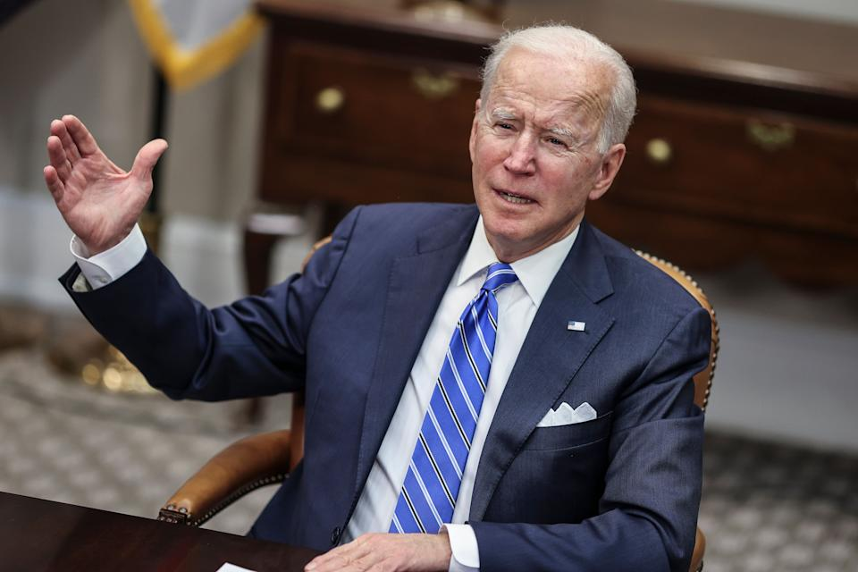 Biden speaks during a virtual call in the Roosevelt Room of the White House, March 4, in Washington, D.C. (Photo: Photo by Oliver Contreras-Pool via Getty Images)