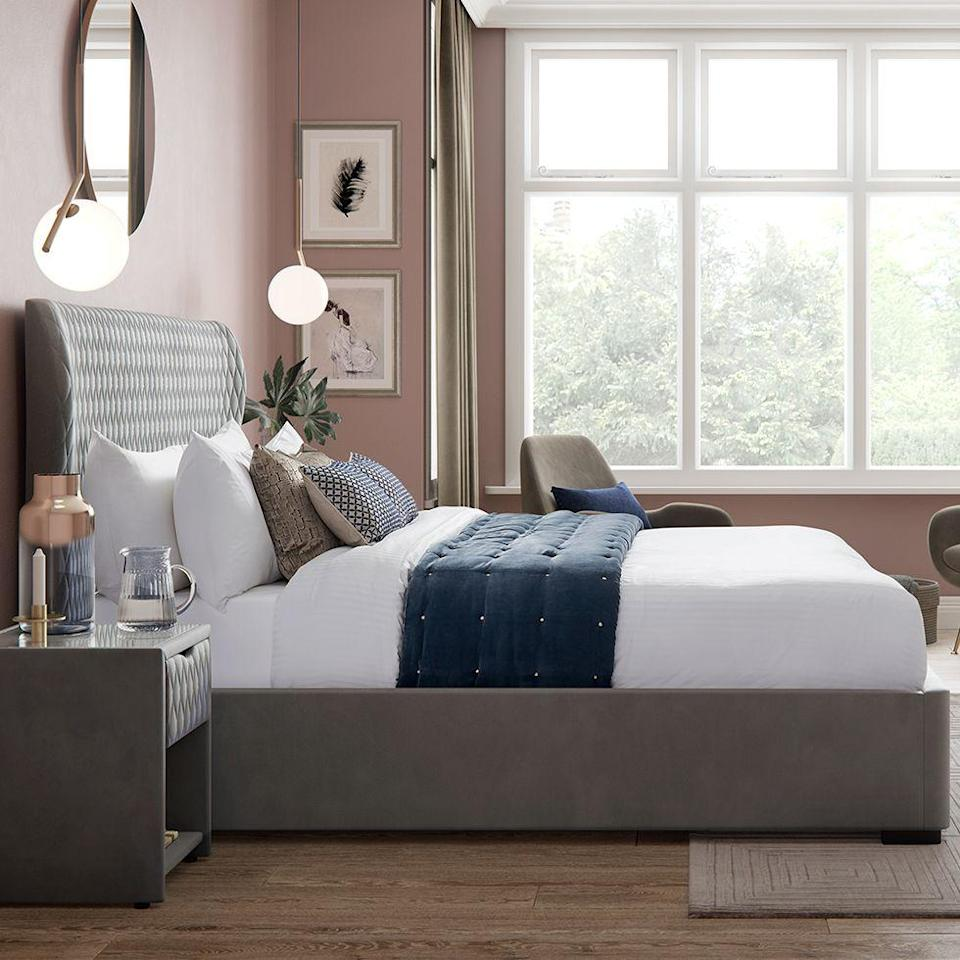 """<p>Create an instantly dramatic feel in your bedroom with a stylish grey bed – even better if it's upholstered in plush velvet. Not only are calming grey hues <a href=""""https://www.housebeautiful.com/uk/decorate/bedroom/a35432588/feng-shui-bedroom/"""" rel=""""nofollow noopener"""" target=""""_blank"""" data-ylk=""""slk:Feng Shui"""" class=""""link rapid-noclick-resp"""">Feng Shui</a> approved, but it will help to flatter the room's decor too.</p><p>'By decorating with pink and grey you can combine two timeless interior schemes – a neutral and a pastel,' adds Julian Downes, MD at <a href=""""https://www.fibreflooring.com/"""" rel=""""nofollow noopener"""" target=""""_blank"""" data-ylk=""""slk:Fibre Flooring"""" class=""""link rapid-noclick-resp"""">Fibre Flooring</a>. 'Pink and grey creates a décor that is both calm and cool; ideal for bedrooms where you want a fresh but cosy feel.'</p><p>• Grove bed, <a href=""""https://www.dreams.co.uk/grove-velvet-finish-upholstered-ottoman-bed-frame/p/251-00336"""" rel=""""nofollow noopener"""" target=""""_blank"""" data-ylk=""""slk:House Beautiful collection at Dreams"""" class=""""link rapid-noclick-resp"""">House Beautiful collection at Dreams</a></p>"""