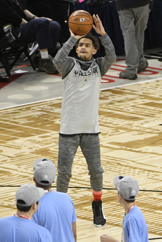 Trae Young of the Atlanta Hawks warms up during an NBA All-Star basketball game practice Saturday, Feb. 15, 2020, in Chicago. (AP Photo/David Banks)