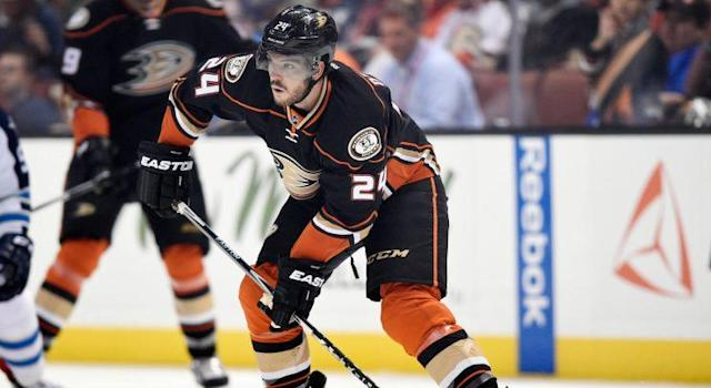 "The <a class=""link rapid-noclick-resp"" href=""/nhl/teams/ana/"" data-ylk=""slk:Anaheim Ducks"">Anaheim Ducks</a> have reportedly waived <a class=""link rapid-noclick-resp"" href=""/nhl/players/4710/"" data-ylk=""slk:Simon Despres"">Simon Despres</a> for the purposes of a buyout. (AP Photo/Kelvin Kuo)"