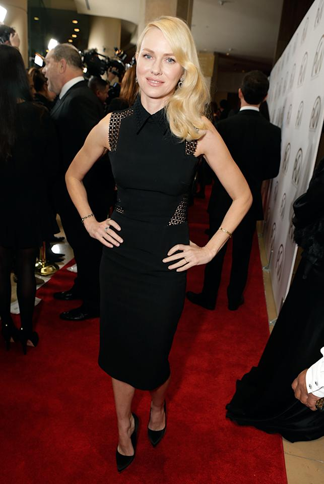 Naomi Watts arrives at the 24th Annual Producers Guild Awards held at The Beverly Hilton Hotel on January 26, 2013 in Beverly Hills, California.  (Photo by Jeff Vespa/WireImage)