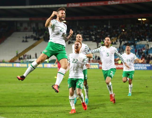 Republic of Ireland striker Daryl Murphy celebrates his late equaliser in Serbia