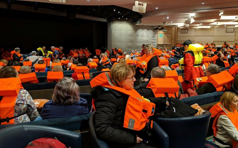Passengers on board the Viking Sky, waiting to be evacuated, off the coast of Norway on Saturday - Michal Stewart
