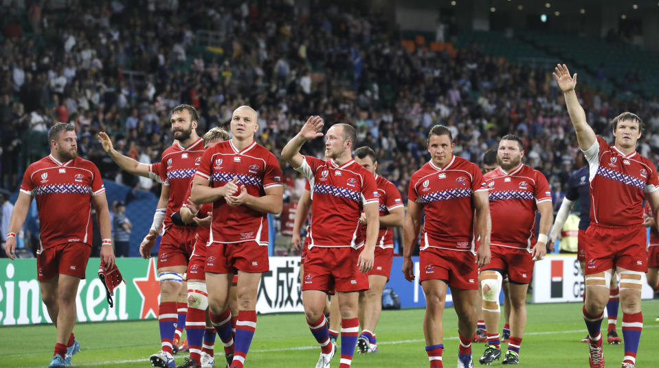 Russian players react following their Rugby World Cup Pool A game at Shizuoka Stadium Ecopa between Scotland and Russia in Shizuoka, Japan, Wednesday, Oct. 9, 2019. (AP Photo/Christophe Ena)