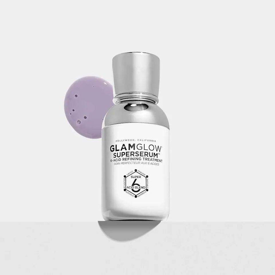 <p>The powerful <span>GlamGlow SuperSerum 6-Acid Refining Treatment Serum</span> ($65) contains six exfoliating acids, activated charcoal, hyaluronic acid and eucalyptus leaves for a calming scent.</p>