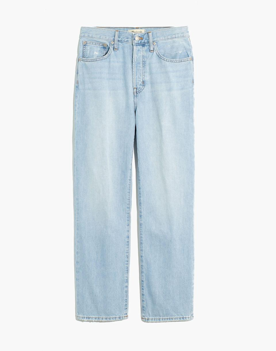 """<p><strong>Madewell</strong></p><p>madewell.com</p><p><a href=""""https://go.redirectingat.com?id=74968X1596630&url=https%3A%2F%2Fwww.madewell.com%2Fthe-dadjean-in-fitzgerald-wash-MA639.html&sref=https%3A%2F%2Fwww.cosmopolitan.com%2Fstyle-beauty%2Ffashion%2Fg36065935%2Fmadewell-spring-sale-2021%2F"""" rel=""""nofollow noopener"""" target=""""_blank"""" data-ylk=""""slk:SHOP NOW"""" class=""""link rapid-noclick-resp"""">SHOP NOW</a></p><p><strong><del>$118</del> $75 (36% off)</strong></p><p>Found in Madewell's regular sale section, these lightwash jeans have a slightly slouchy, Gen-Z approved boyfriend fit. </p>"""