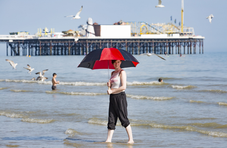 <p>One woman uses an umbrella to shield herself from the heat in Brighton (Picture: REX Features) </p>