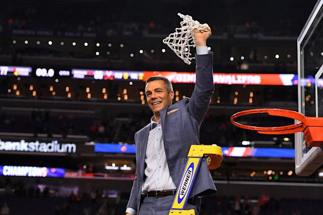 Virginia coach Tony Bennett said his team will not celebrate its national championship at the White House with Donald Trump, citing logistical issues. (Jamie Schwaberow/NCAA Photos via Getty Images)