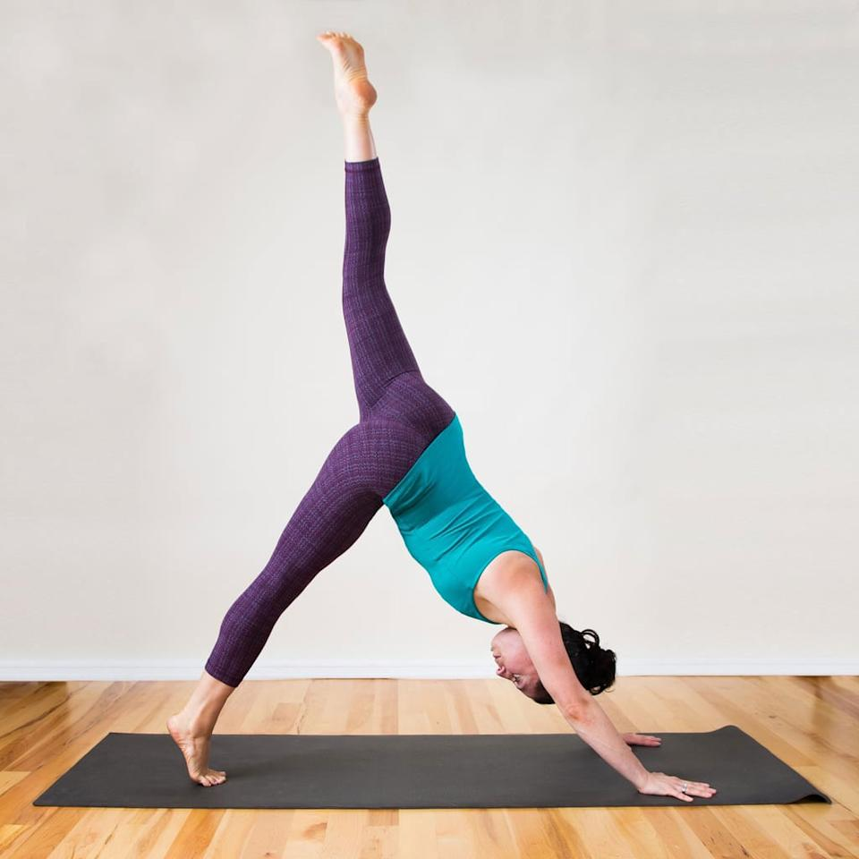 """<p><strong>Purpose of this stretch:</strong> I love stretching my feet and calves in Down Dog, Three-Legged Dog, and Tip-Toe Three-Legged Dog because I can focus on one side at a time.</p> <ul> <li>From a plank position, lift your hips up, coming into the upside down V position known as <a href=""""https://www.popsugar.com/fitness/How-Do-Downward-Facing-Dog-Properly-20968377"""" class=""""ga-track"""" data-ga-category=""""internal click"""" data-ga-label=""""https://www.popsugar.com/fitness/How-Do-Downward-Facing-Dog-Properly-20968377"""" data-ga-action=""""body text link"""">Downward Dog</a>. Hold here for five breaths, pressing the heels toward the floor to stretch the calves. </li> <li>Step the feet together so the big toes are touching. Inhale to raise your left leg into the air, holding <a href=""""https://www.popsugar.com/fitness/photo-gallery/42679589/image/42679758/3-Legged-Dog"""" class=""""ga-track"""" data-ga-category=""""internal click"""" data-ga-label=""""https://www.popsugar.com/fitness/photo-gallery/42679589/image/42679758/3-Legged-Dog"""" data-ga-action=""""body text link"""">Three-Legged Dog</a> for five breaths.</li> <li>Then come into <a href=""""https://www.popsugar.com/fitness/photo-gallery/38135477/image/38396285/Tip-Toe-Three-Legged-Dog"""" class=""""ga-track"""" data-ga-category=""""internal click"""" data-ga-label=""""https://www.popsugar.com/fitness/photo-gallery/38135477/image/38396285/Tip-Toe-Three-Legged-Dog"""" data-ga-action=""""body text link"""">Tip-Toe Three-Legged Dog</a> by lifting the right heel as high as you can to stretch the arch of the right foot, as you simultaneously circle the left foot in all directions (this feels so good!).</li> <li>Hold here for five breaths, keeping the shoulders parallel to the floor. </li> <li>Lower the left foot back to the floor and repeat Three-Legged Dog and Tip-Toe Three-Legged Dog on the right side.</li> <li>Lower the right foot and come back to Down Dog for another five breaths, trying to lower the heels even more, feeling a deeper stretch in the calves.</li> </ul>"""