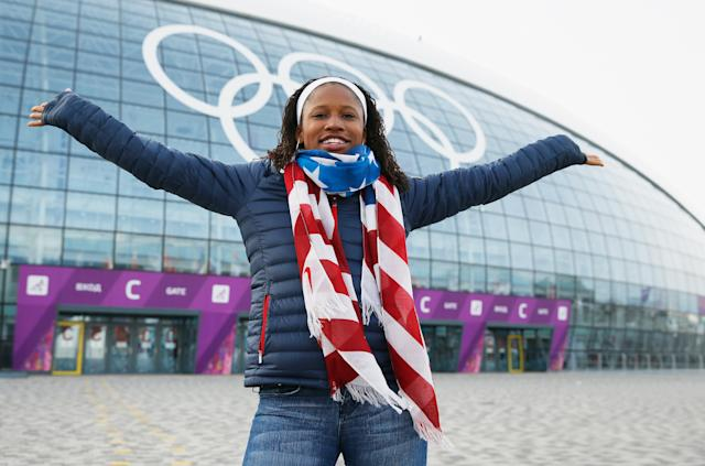<p>Williams switched to bobsled and represented Team USA at the 2014 Winter Games in Sochi where she won a silver medal in the two-woman bobsled event. (Getty) </p>