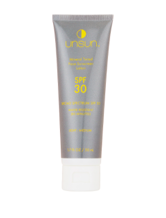 """<h2><strong>Unsun Mineral Tinted Face Sunscreen SPF 30<br></strong></h2><br>Unsun's tinted sunscreen easily fits in at the end of your routine to keep skin protected from UV damage.<br><br><strong>Unsun Cosmetics</strong> Mineral Tinted Face Sunscreen SPF 30, $, available at <a href=""""https://www.revolve.com/unsun-cosmetics-mineral-tinted-face-sunscreen-spf-30/dp/UNSR-WU1/?d=Womens&page=1&lc=1&plpSrc=%2Fr%2FSearch.jsp%3Fsearch%3DMineral+Tinted+Face+Sunscreen+SPF+30%26d%3DWomens%26sortBy%3Dfeatured&itrownum=1&itcurrpage=1&itview=05&bneEl=false"""" rel=""""nofollow noopener"""" target=""""_blank"""" data-ylk=""""slk:Revolve"""" class=""""link rapid-noclick-resp"""">Revolve</a>"""