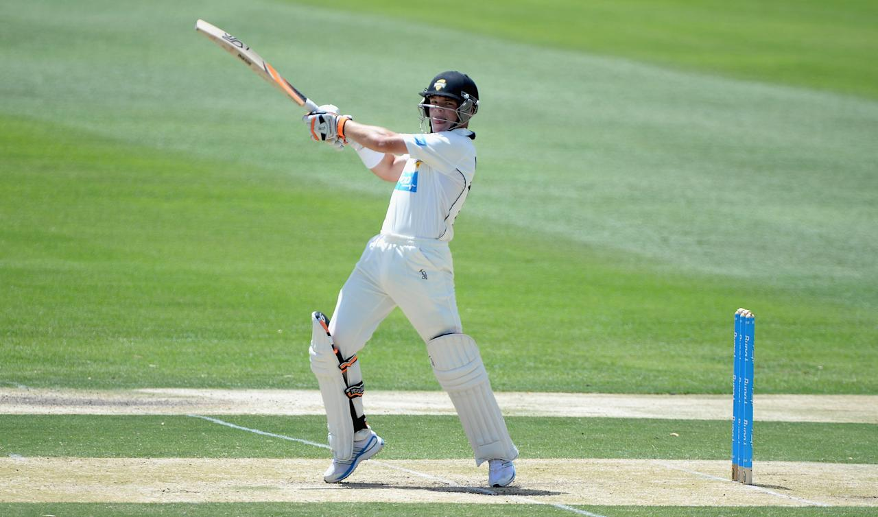 ALICE SPRINGS, AUSTRALIA - NOVEMBER 30:  Marcus Harris of Chairmans XI bats during day two of the tour match between the Chairman's XI and England at Traeger Park on November 30, 2013 in Alice Springs, Australia.  (Photo by Gareth Copley/Getty Images)