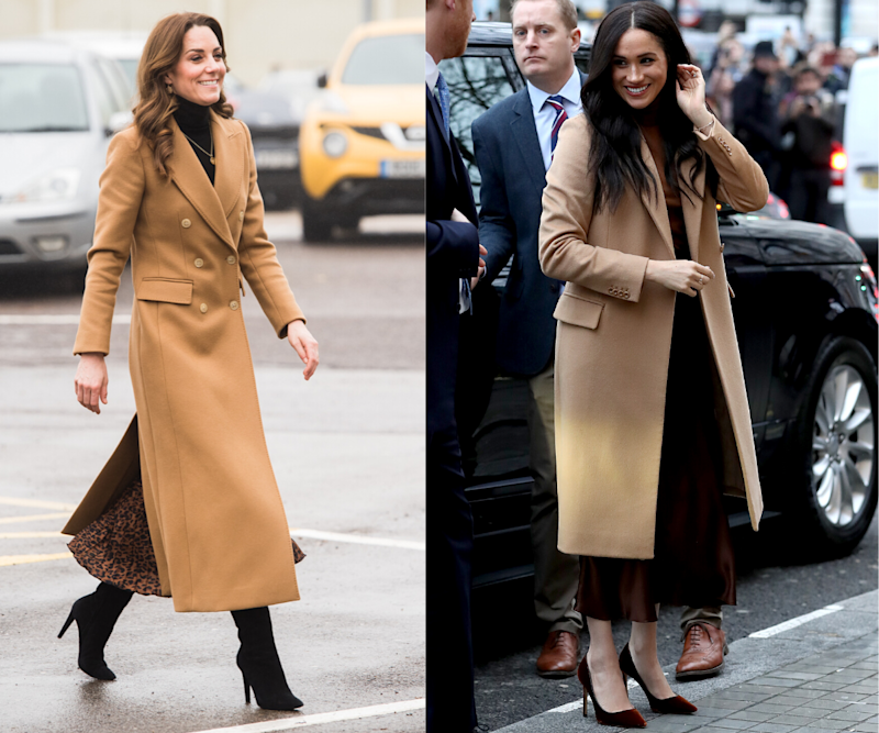 Kate Middleton and Meghan Markle in camel coats. Images via Getty.