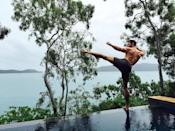 """<p>Oh, is the <i>Thor</i> hunk wearing a swimsuit? Sorry, we are too busy looking at his insanely ripped back and arms as he does a kung fu kick on a pool edge while on vacation in Hamilton Beach, Queensland, Australia. (Photo: <a href=""""https://www.instagram.com/p/BIBKdtNhlmY/?taken-by=chrishemsworth"""" rel=""""nofollow noopener"""" target=""""_blank"""" data-ylk=""""slk:Instagram"""" class=""""link rapid-noclick-resp"""">Instagram</a>) </p>"""