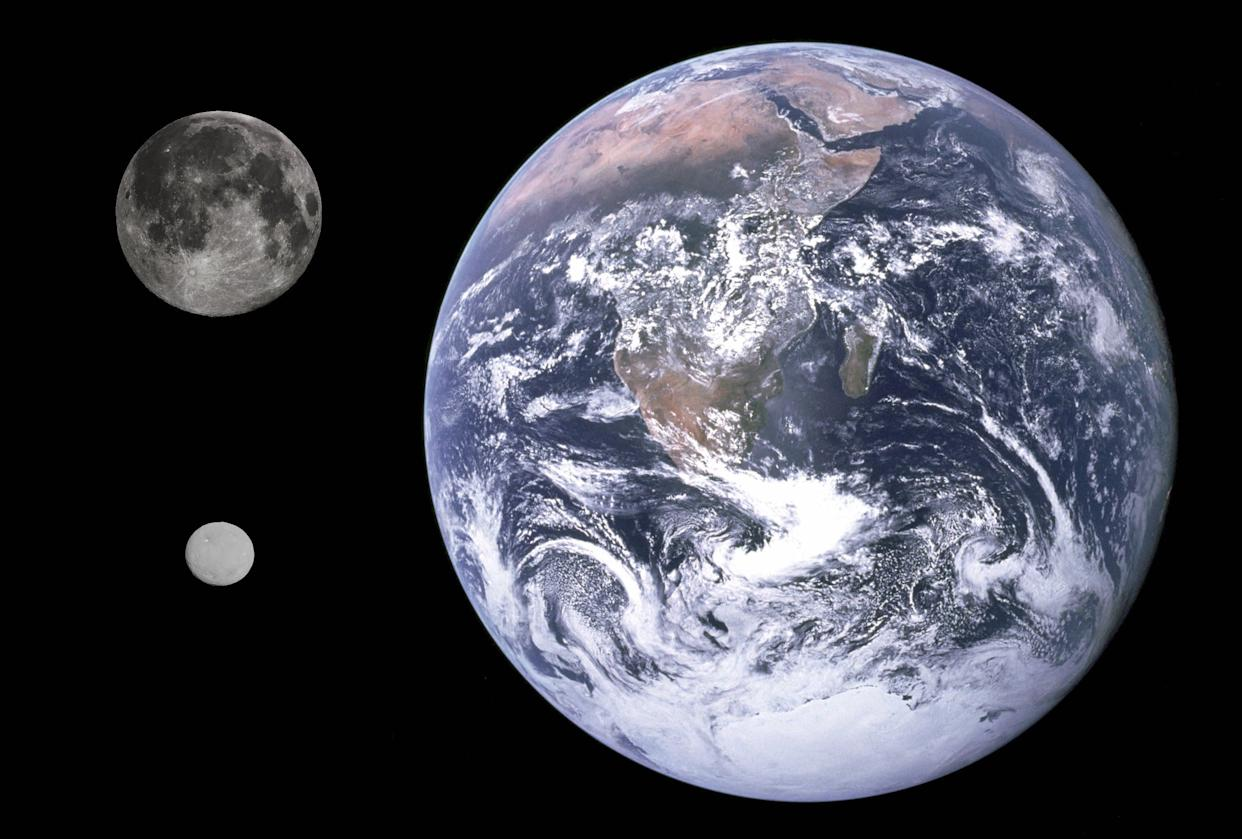 A comparison of the size differences between Earth, the moon and asteroid Ceres.