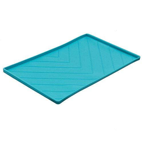 "Messy Mutts Silicone Non-Slip Dog Bowl Mat with Raised Edge and Two Sides Reinforced with Metal Rods, Large, 24"" x 16"", Blue (Amazon / Amazon)"