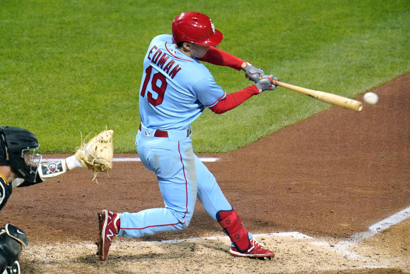 St. Louis Cardinals' Tommy Edman drives in a run with a single off Pittsburgh Pirates relief pitcher Sam Howard during the seventh inning of a baseball game in Pittsburgh, Saturday, Sept. 19, 2020. (AP Photo/Gene J. Puskar)