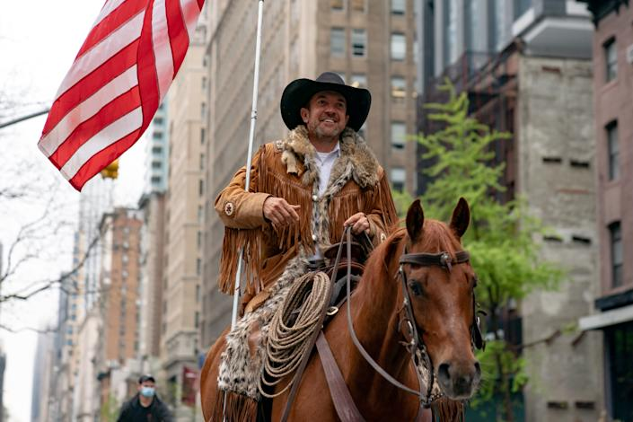 Otero County Commission Chairman and Cowboys for Trump co-founder Couy Griffin rides his horse on 5th avenue on May 1, 2020 in New York City. (Photo by Jeenah Moon/Getty Images)