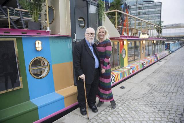 Blake's barge: Sir Peter Blake and Prue Freeman at the newly-designed restaurant: Evening Standard/eyevine/Jeremy Selwyn