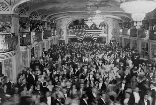 In March 1929, the well-heeled strut their stuff at President Herbert Hoover's inaugural ball, at the Mayflower Hotel in Washington, D.C. Before the year was over, the Roaring Twenties would come to an end and the Great Depression would begin.