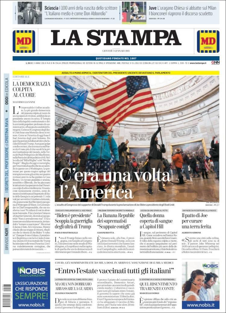 Front page of Italy's La Stampa on Thursday