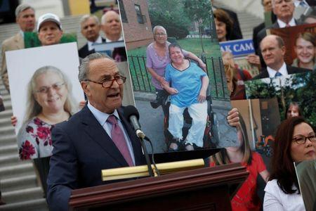 Senate Minority Leader Chuck Schumer speaks at a press conference about the ongoing efforts to repeal the Affordable Care Act outside the U.S. Capitol Building in Washington, D.C., U.S., June 27, 2017. REUTERS/Aaron P. Bernstein