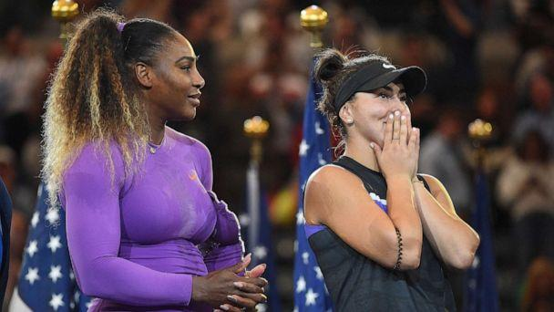 PHOTO: Serena Williams and Bianca Vanessa Andreescu during the women's trophy ceremony at the 2019 US Open at Billie Jean National Tennis Center in New York City, Sept., 7, 2019. (Dubreuil Corinne/ABACAPRESS.COM via Newscom)