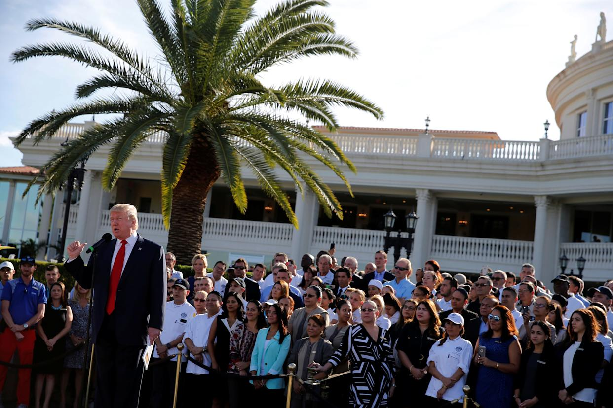 """""""Donald Trump and the country might be happier if he went back to being a full-time golf course owner,"""" said Robert Weissman, president of the liberal group Public Citizen. (Photo: Jonathan Ernst / Reuters)"""