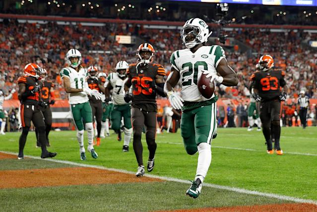 Isaiah Crowell insulted Browns fans with an inappropriate touchdown celebration. (Getty Images)